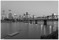Williamette River and Portland skyline at night. Portland, Oregon, USA ( black and white)