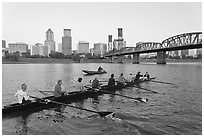 Eight-oar shell and city skyline at sunrise. Portland, Oregon, USA ( black and white)
