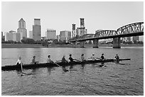 Eight-oar shell on Williamette River and city skyline. Portland, Oregon, USA ( black and white)