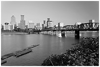 Hawthorne Bridge and Portland Skyline. Portland, Oregon, USA ( black and white)