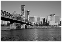 Williamette River, Hawthorne Bridge and Portland Skyline. Portland, Oregon, USA ( black and white)