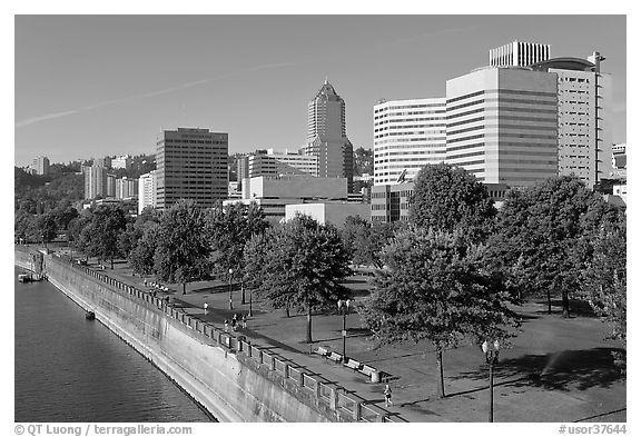 Tom McCall Waterfront Park and skyline. Portland, Oregon, USA (black and white)