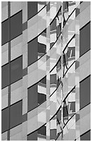 Pattern of windows and reflections in high rise building. Portland, Oregon, USA ( black and white)