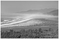 River estuary and fog near Cap Meares. Oregon, USA ( black and white)
