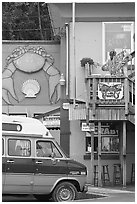 Colorful seafood restaurant. Newport, Oregon, USA (black and white)