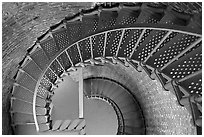Spiral staircase inside Cape Blanco Lighthouse. Oregon, USA ( black and white)