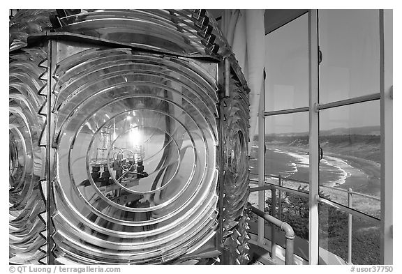Light inside Cape Blanco Lighthouse tower and landscape. Oregon, USA