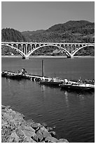 Boat deck and arched bridge, Rogue River. Oregon, USA (black and white)