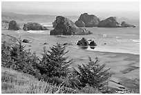 Seastacks and beach, Pistol River State Park. Oregon, USA (black and white)