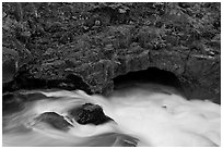 Rogue River and natural bridge. Oregon, USA (black and white)