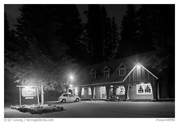 Union Creek resort by night. Oregon, USA (black and white)