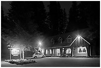 Union Creek resort by night. Oregon, USA ( black and white)