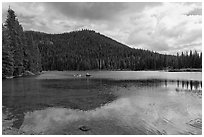 Kayakers, Devils Lake, Deschutes National Forest. Oregon, USA ( black and white)