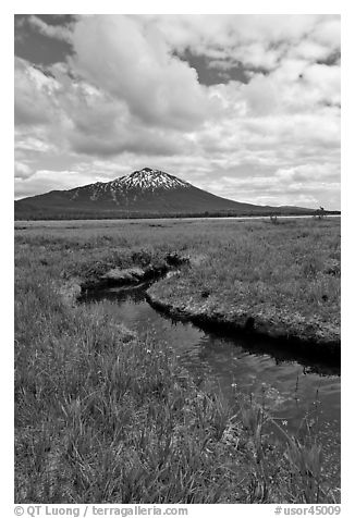 Stream, meadow, and South Sister, Deschutes National Forest. Oregon, USA (black and white)