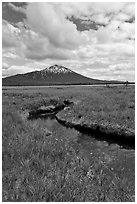 Stream, meadow, and South Sister, Deschutes National Forest. Oregon, USA ( black and white)