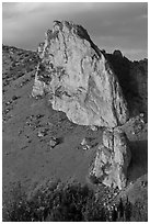Ryolite outcrop at sunset. Smith Rock State Park, Oregon, USA ( black and white)
