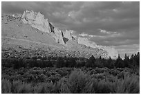 Stadender Ridge at sunset. Smith Rock State Park, Oregon, USA ( black and white)