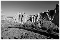 Crooked River and Dihedrals. Smith Rock State Park, Oregon, USA ( black and white)