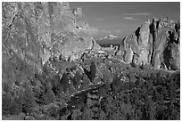 Oregon cascades seen through cliffs. Smith Rock State Park, Oregon, USA (black and white)