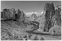 Crooked River and cliffs. Smith Rock State Park, Oregon, USA ( black and white)