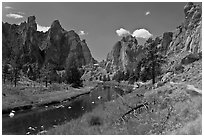 Crooked River valley and rock walls. Smith Rock State Park, Oregon, USA ( black and white)