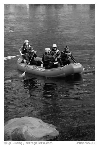 Rafters, McKenzie river. Oregon, USA (black and white)