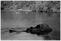 McKenzie river and rafters, Ben and Kay Doris Park. Oregon, USA ( black and white)