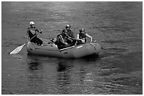 Rafting, McKenzie river. Oregon, USA ( black and white)