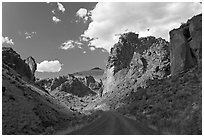 Road in Leslie Gulch. Oregon, USA ( black and white)