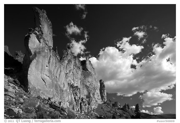 Roostercomb Rock and cloud Leslie Gulch. Oregon, USA (black and white)