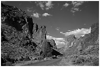 Scenic road below spires, Leslie Gulch. Oregon, USA ( black and white)
