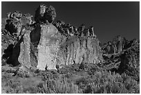 Volcanic cliffs, Leslie Gulch BLM National Backcountry Byway. Oregon, USA ( black and white)