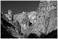 Volcanic rock formations, Leslie Gulch. Oregon, USA ( black and white)