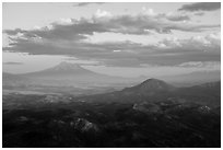 Mt Shasta and Soda Mountain Wilderness. Cascade Siskiyou National Monument, Oregon, USA ( black and white)
