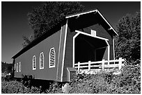 Red covered bridge, Willamette Valley. Oregon, USA ( black and white)
