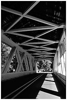 Inside a covered bridge, Willamette Valley. Oregon, USA ( black and white)