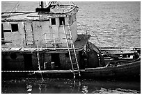 Shipwreck near Coquille River. Oregon, USA (black and white)