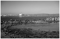 Coquille River estuary with lighthouse. Bandon, Oregon, USA ( black and white)