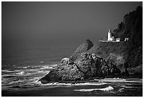 Lighthouse at Haceta Head, afternoon. Oregon, USA ( black and white)