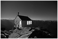 Fire lookout on Hidden Lake Peak by night. Washington (black and white)