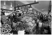 Flowers for sale in Main Arcade daystall,. Seattle, Washington ( black and white)