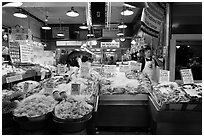 Seafood vending, Pike Place Market. Seattle, Washington (black and white)