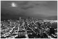 Cityscape with moon. Seattle, Washington (black and white)