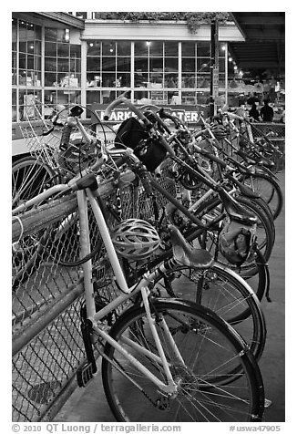 Bicycles parked outside  Pike Place Market. Seattle, Washington (black and white)