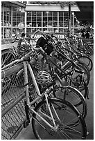 Bicycles parked outside  Pike Place Market. Seattle, Washington ( black and white)