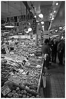 Fruit and vegetable market in Main Arcade, Pike Place Market. Seattle, Washington (black and white)