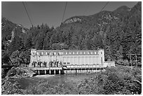 Gorge Dam in summer, Newhalem. Washington (black and white)