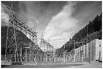 High voltage lines near Diablo powerhouse. Washington ( black and white)
