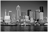Seattle skyline seen from the water. Seattle, Washington ( black and white)