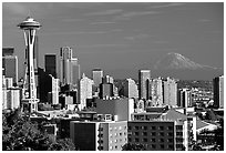 Seattle skyline with the Needle and Mt Rainier, afternoon. Seattle, Washington (black and white)
